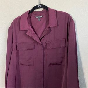 Express Tops - Express Maroon Button Up Cropped Long Sleeve Top
